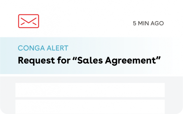 "Conga Alert | Request for ""Sales Agreement"""